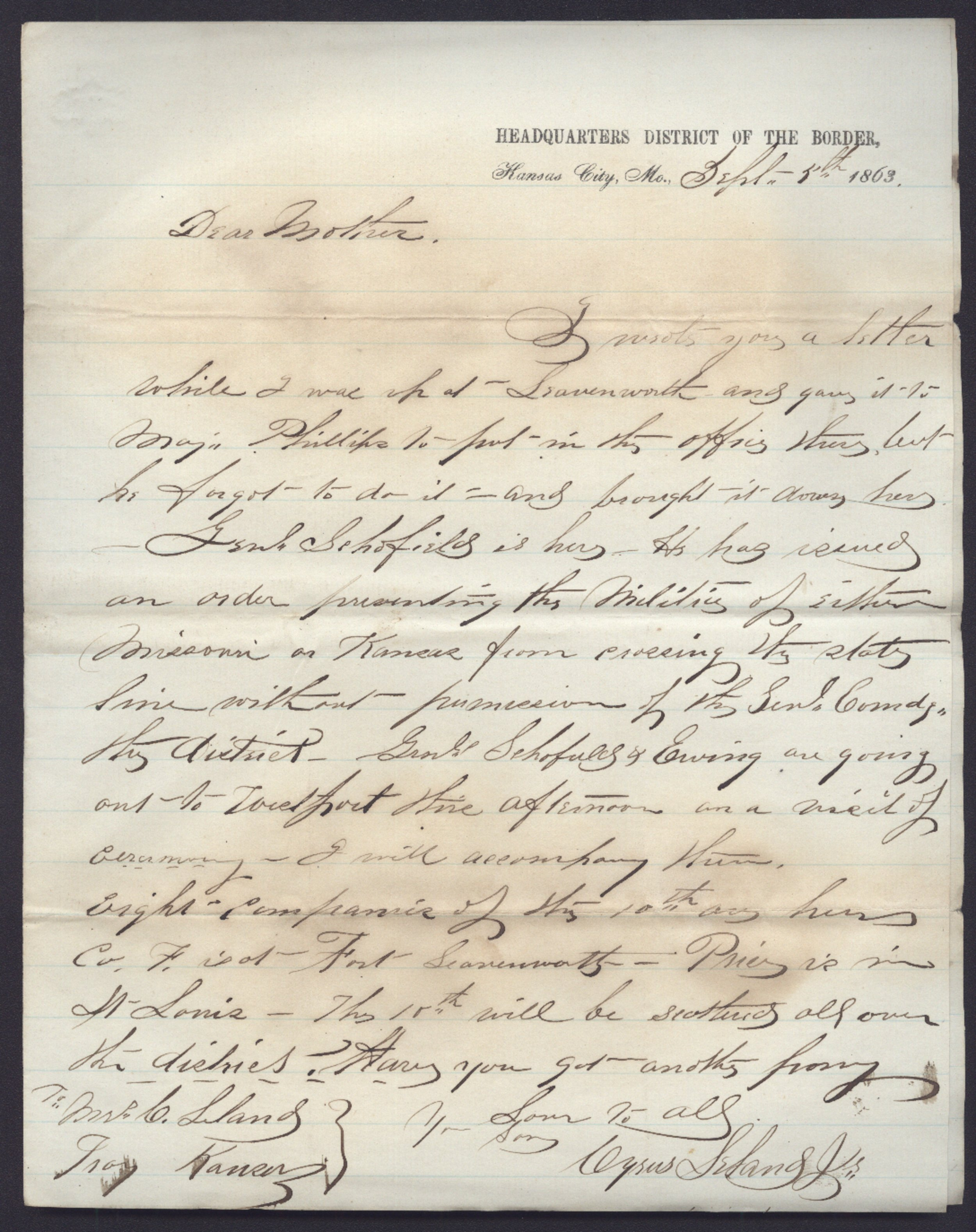 Cyrus Leland, Jr. to Mother and other family members - 9