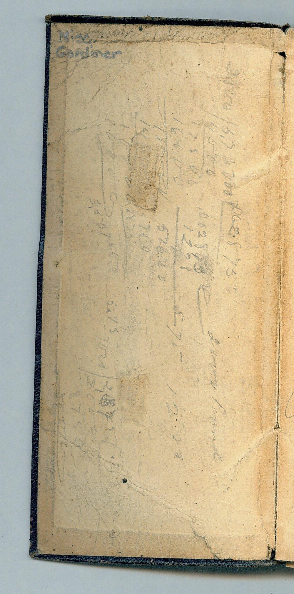 John William Gardiner diary - Inside Front Cover