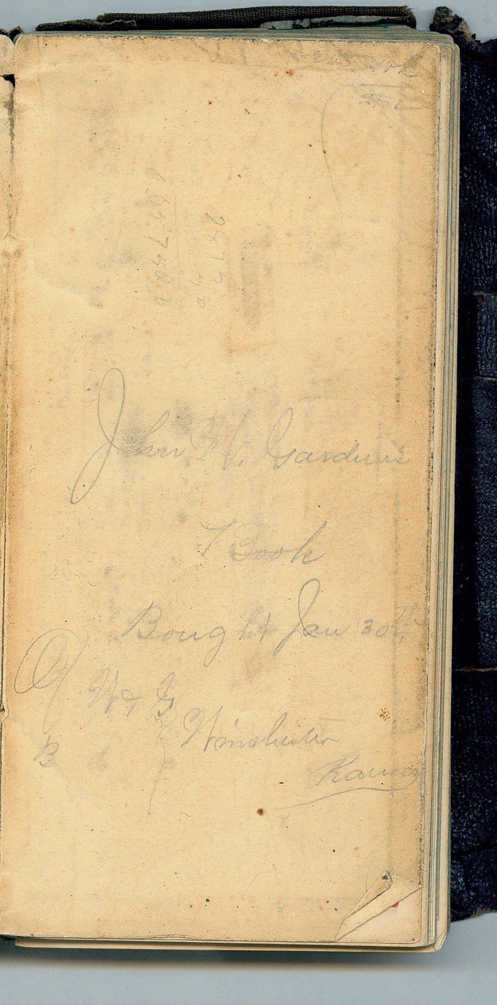 John William Gardiner diary - Opposite Inside Front Cover