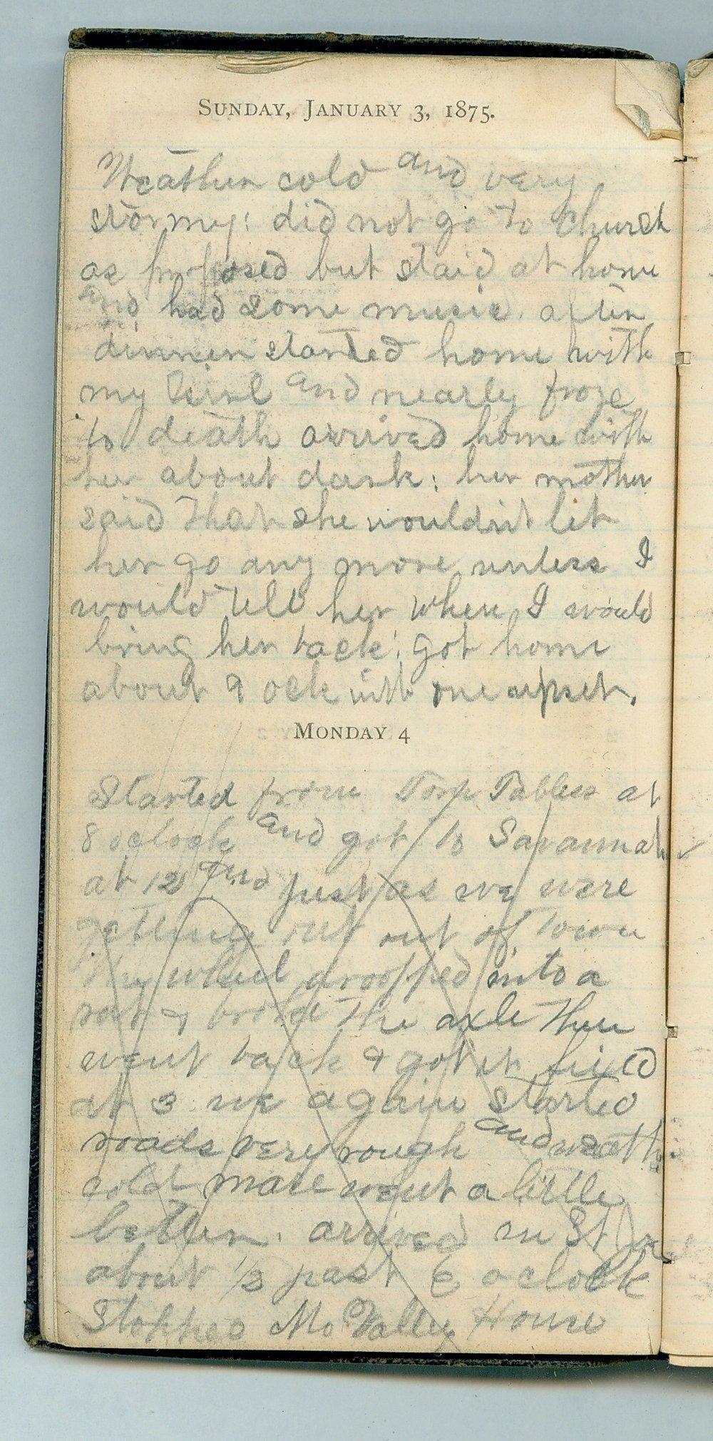 John William Gardiner diary - Jan 3, 1875