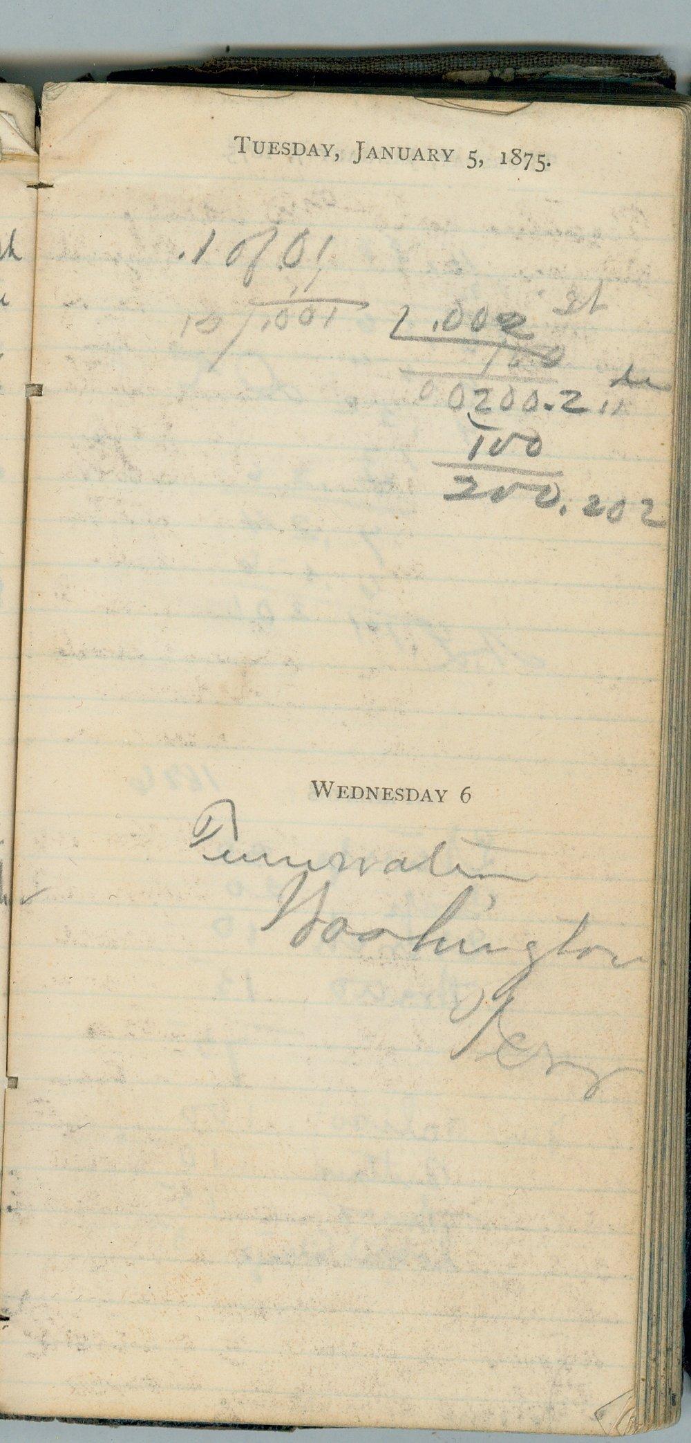 John William Gardiner diary - Jan 5, 1875