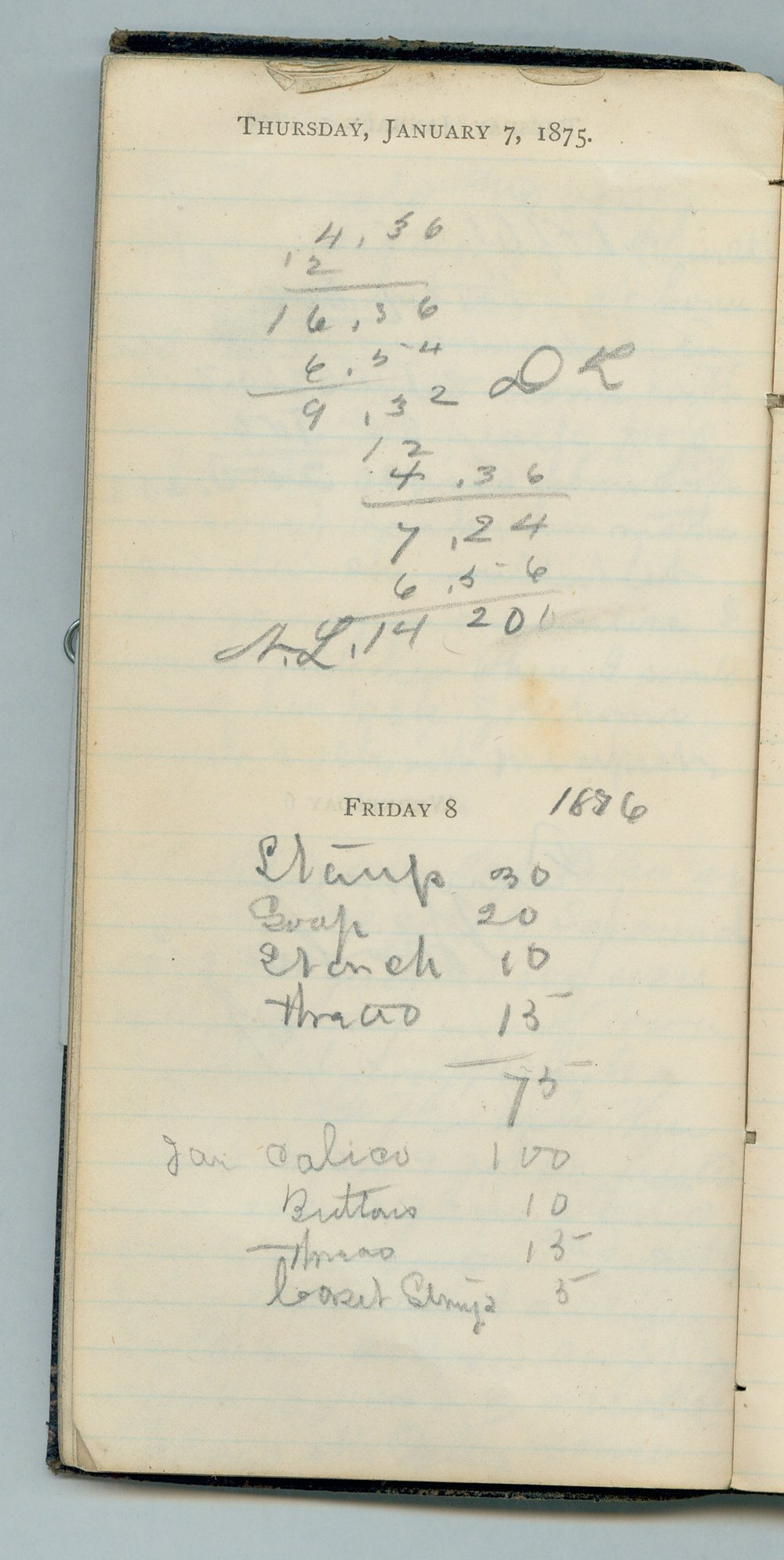 John William Gardiner diary - Jan 7, 1875
