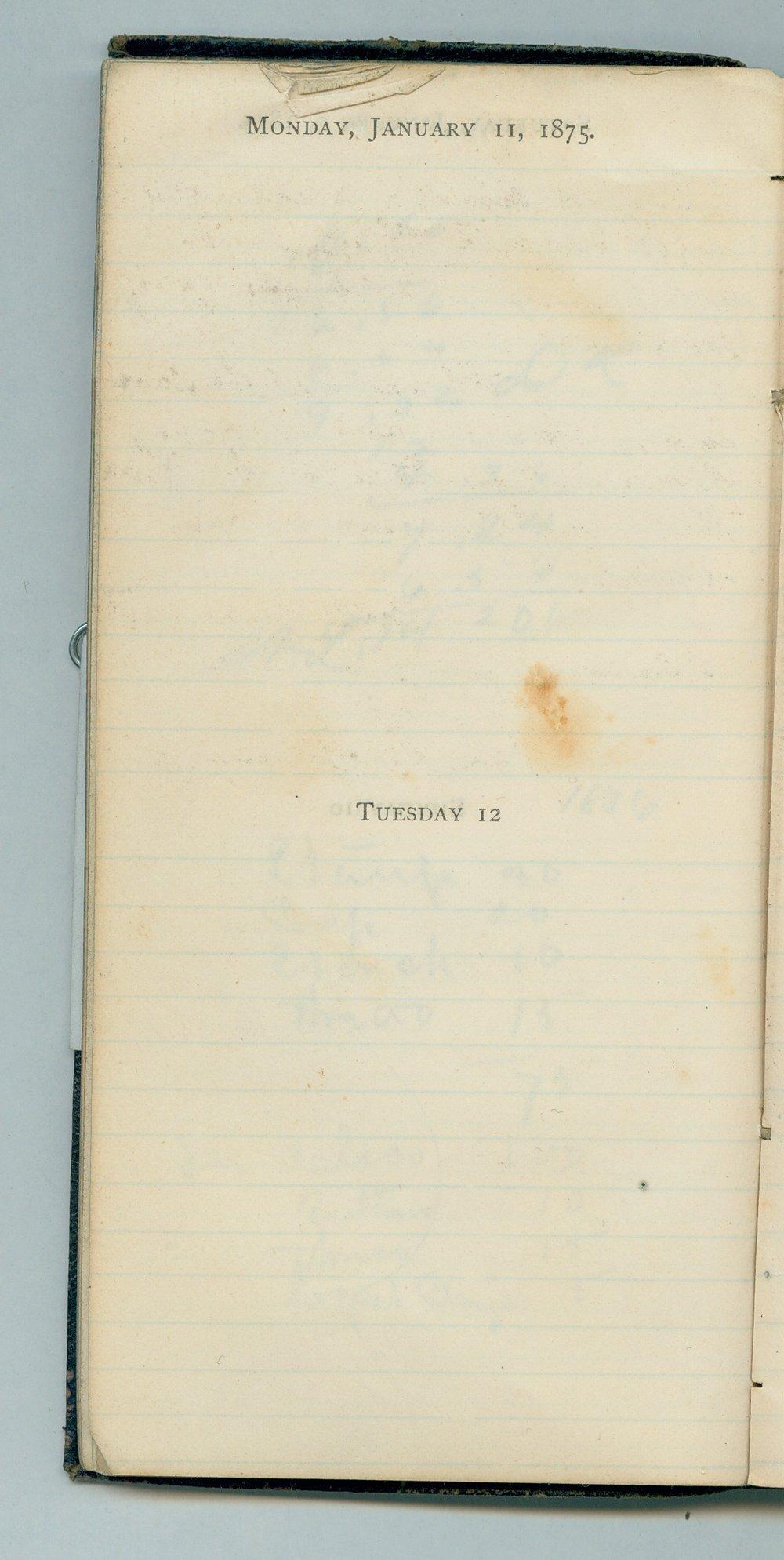 John William Gardiner diary - Jan 11, 1875