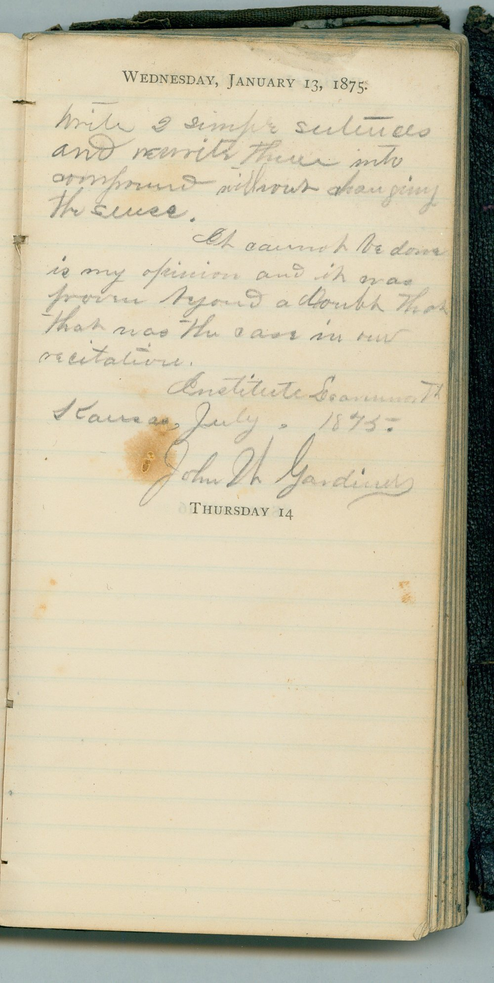 John William Gardiner diary - Jan 13, 1875