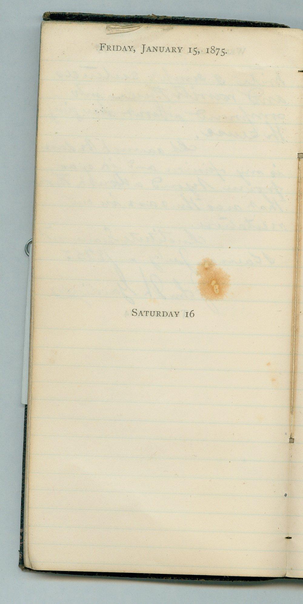 John William Gardiner diary - Jan 15, 1875