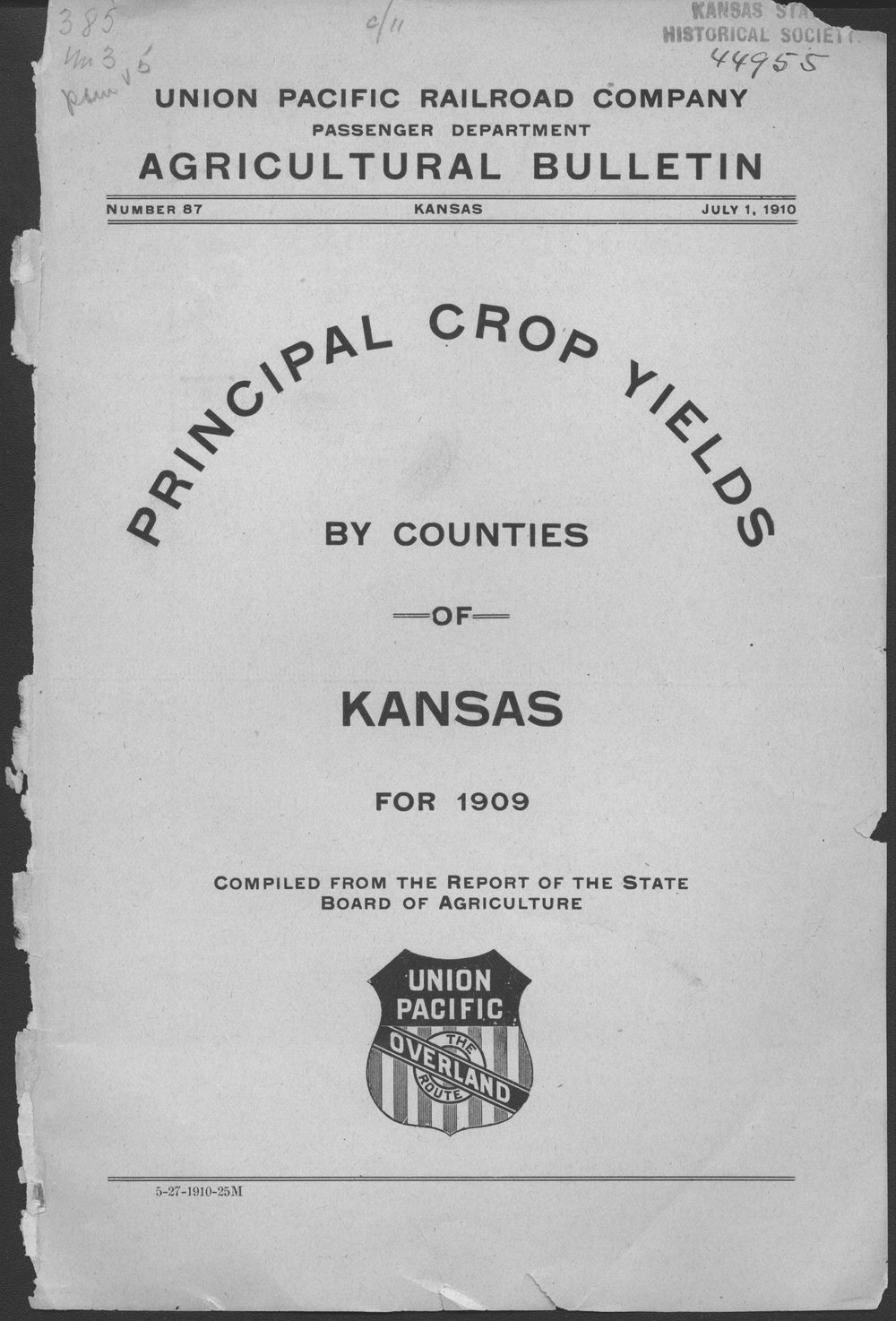 Prinicipal crop yields by counties of Kansas for 1909 - Front Cover