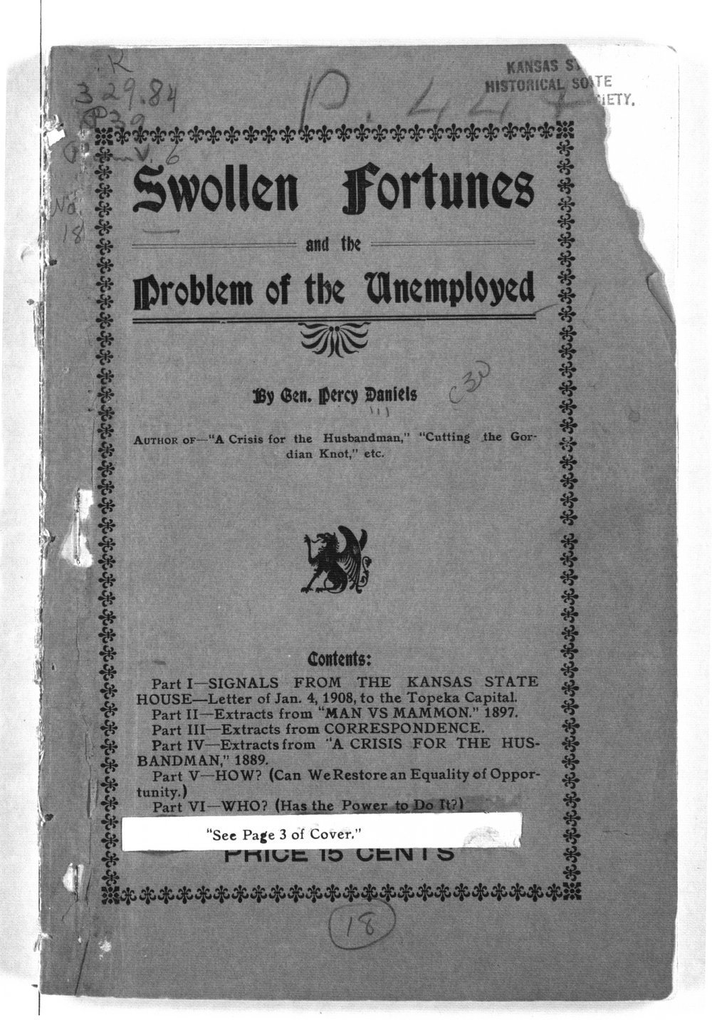 Swollen fortunes and the problem of the unemployed - Front Cover