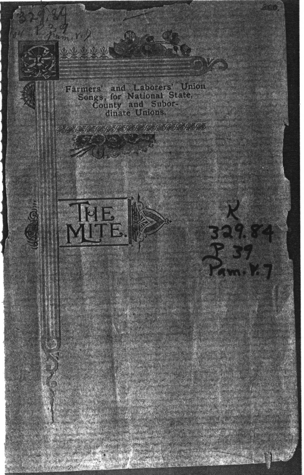 The mite:  Farmers' and Laborers' Union songs for national, state, county and subordinate unions - Front Cover