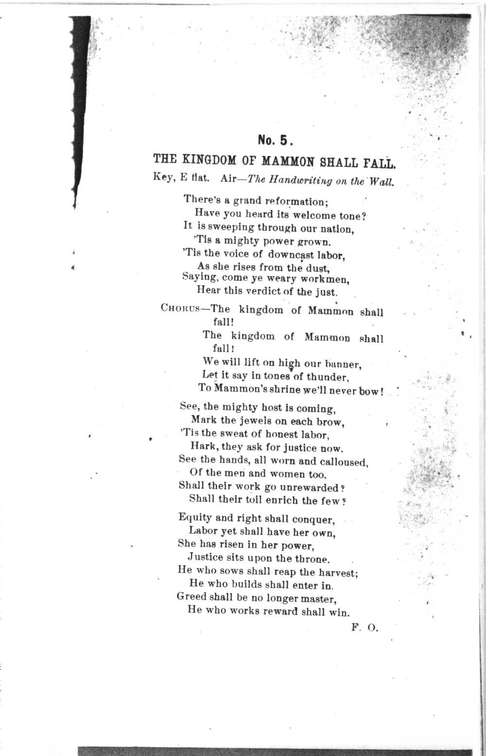 The mite:  Farmers' and Laborers' Union songs for national, state, county and subordinate unions - No. 5