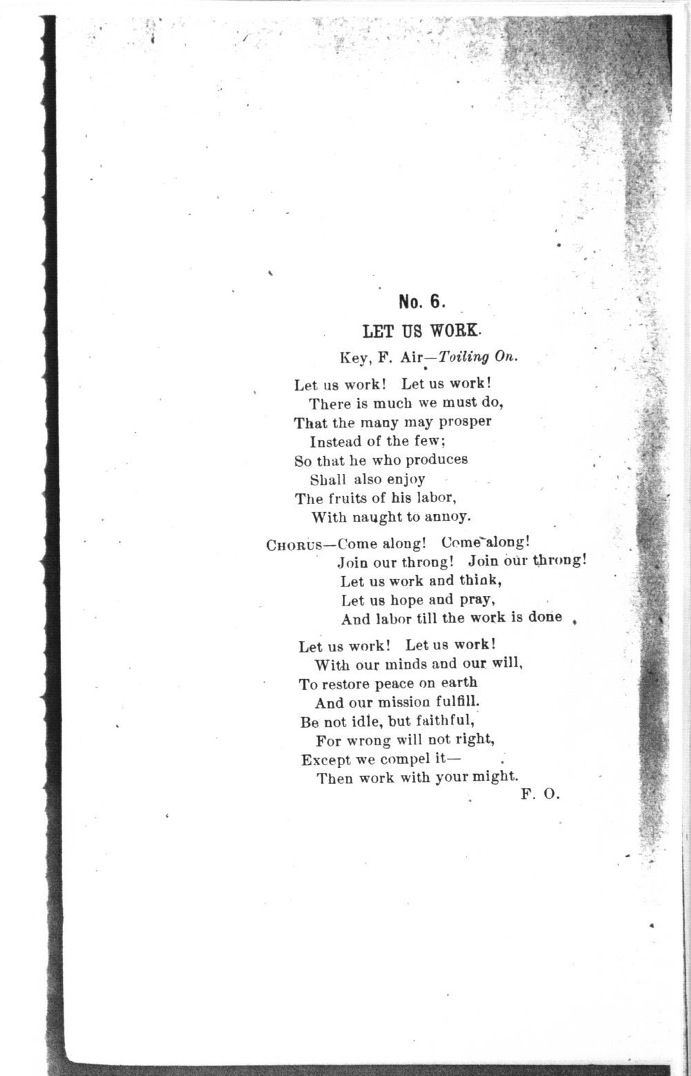 The mite:  Farmers' and Laborers' Union songs for national, state, county and subordinate unions - No. 6