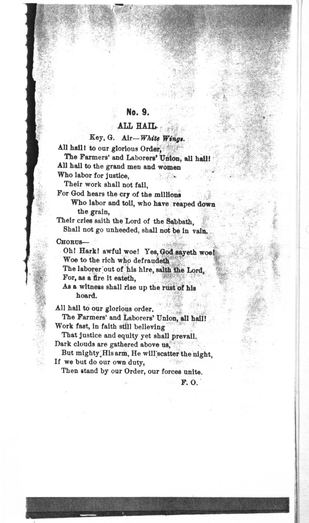 The mite:  Farmers' and Laborers' Union songs for national, state, county and subordinate unions - No. 9