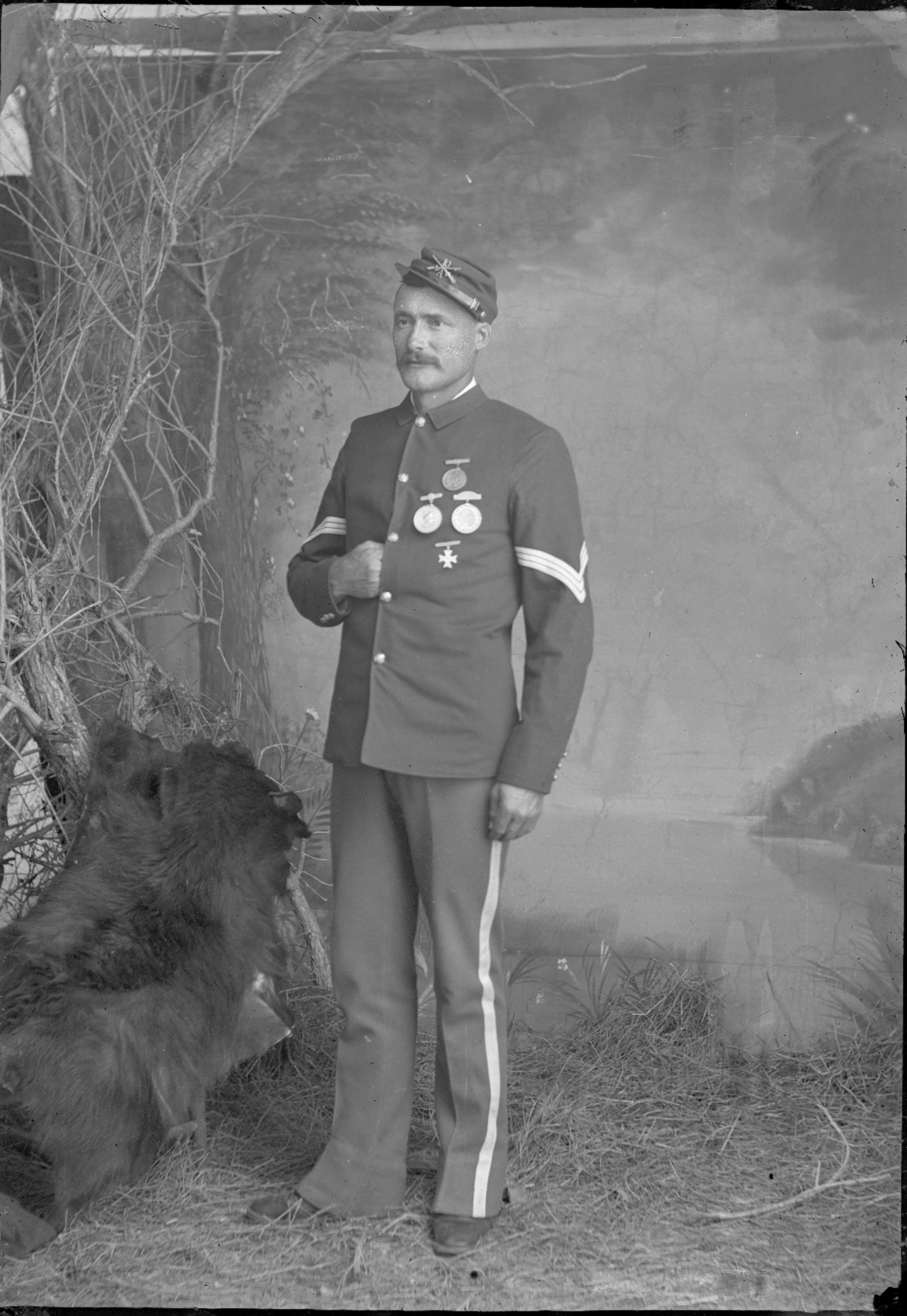 Fort Lyon and Fort Union - Unidentified sergeant, member fo the 10th infantry, Company A, Fort Lyon, Colorado. Neg #11