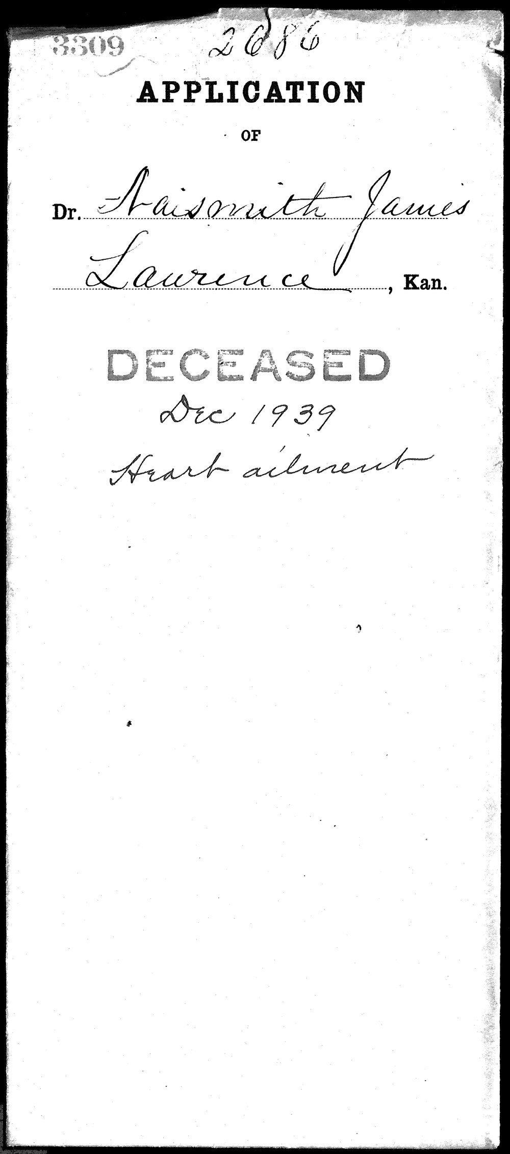 James Naismith's medical license application - 1