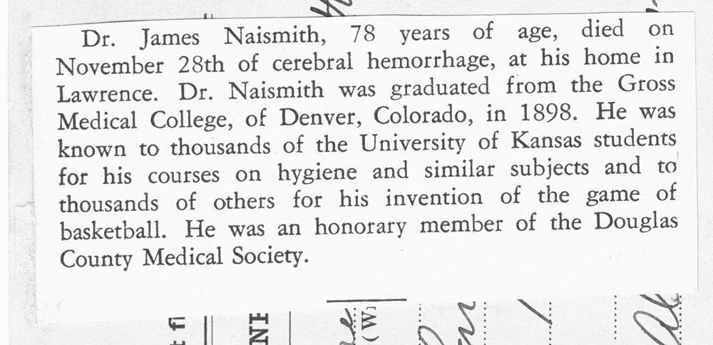 James Naismith's medical license application - 2