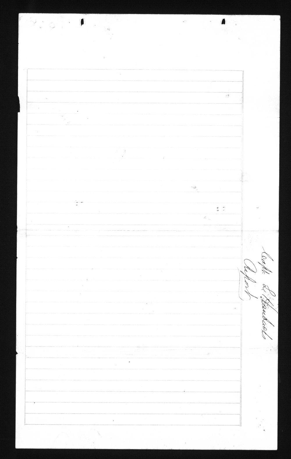 Captain Lewis Hanback's final report - cover sheet