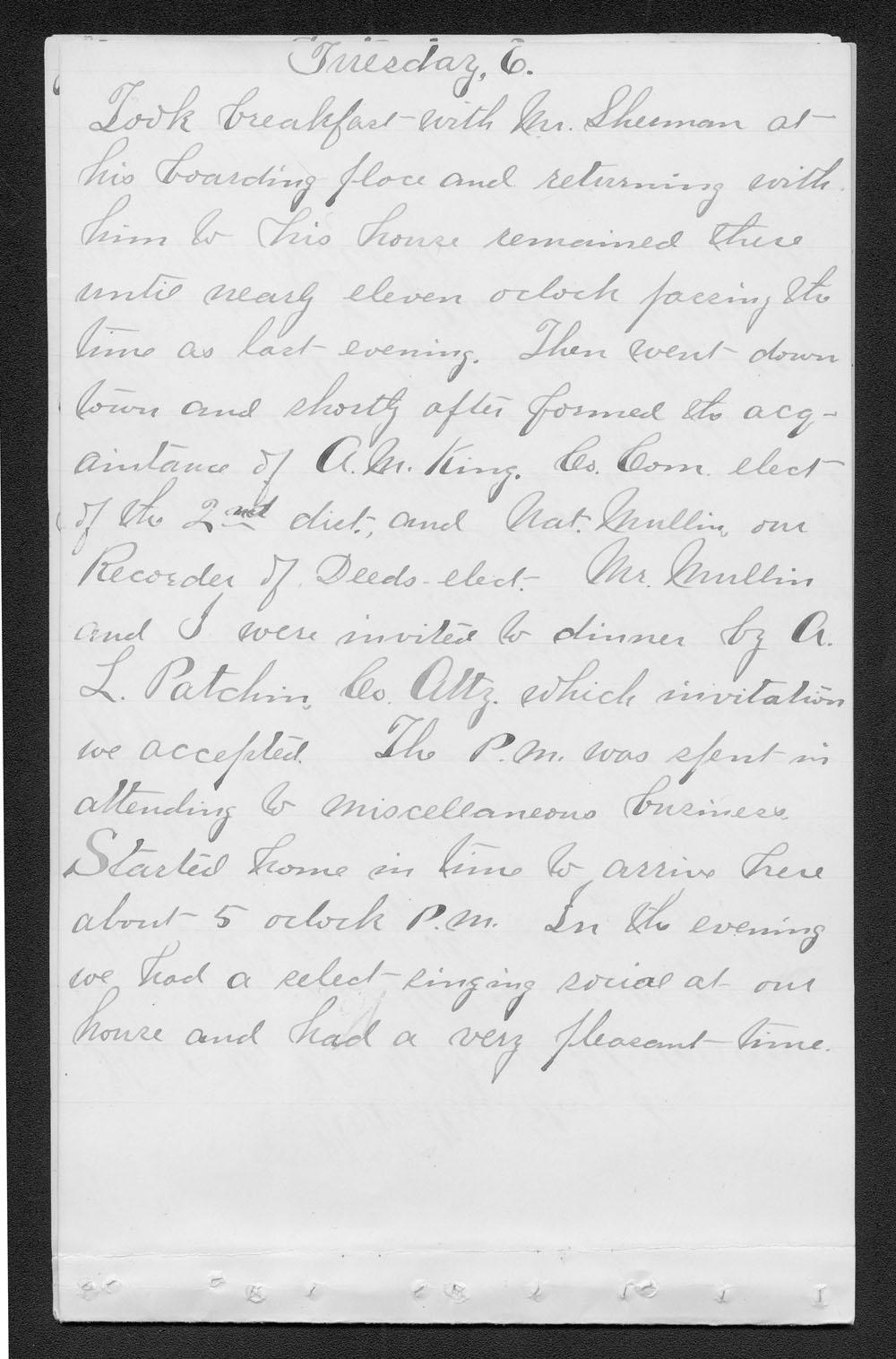 Elam Bartholomew diary - Jan 6, 1880