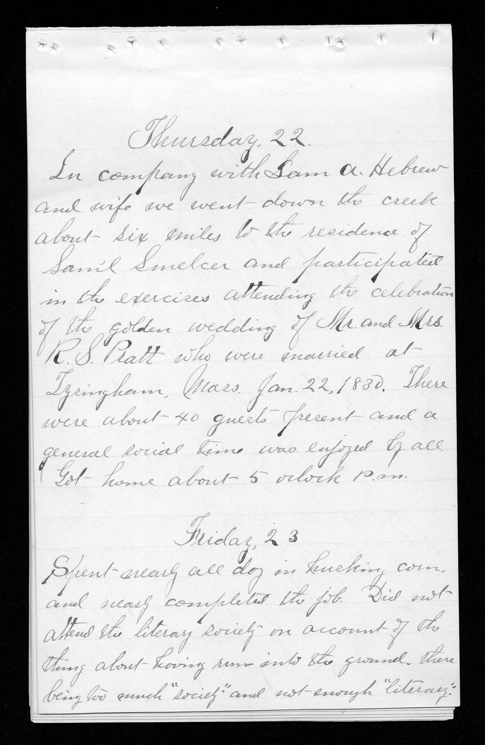 Elam Bartholomew diary - Jan 22, 1880