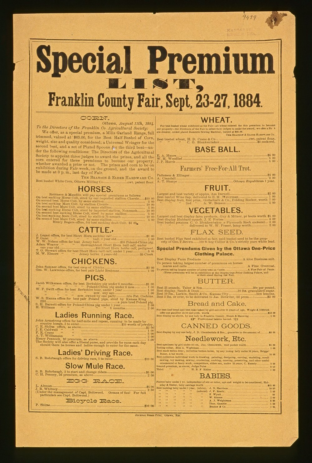 Special premium list, Franklin County fair