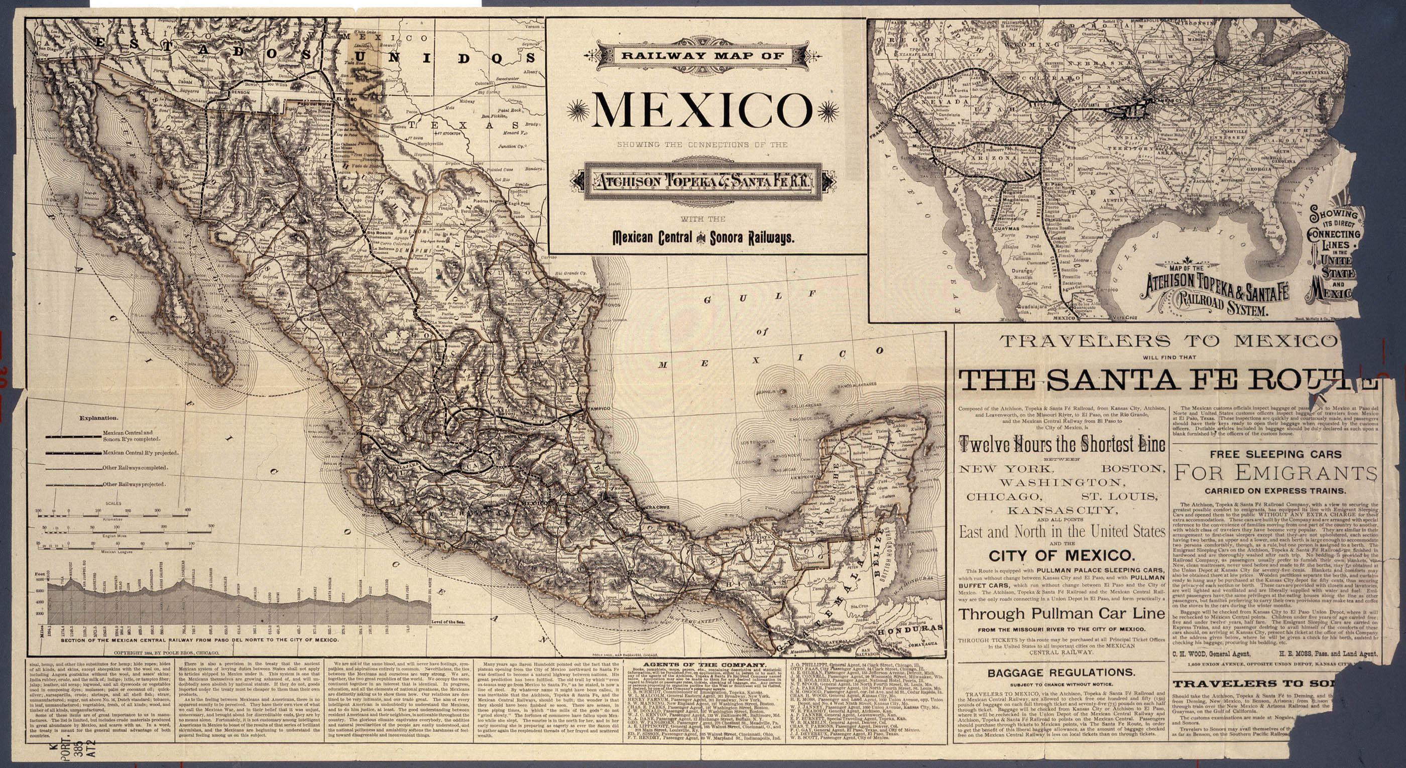 Railway map of Mexico showing connections of the Atchison, Topeka and Santa Fe R. R. with the Mexican Central and Sonora Railways