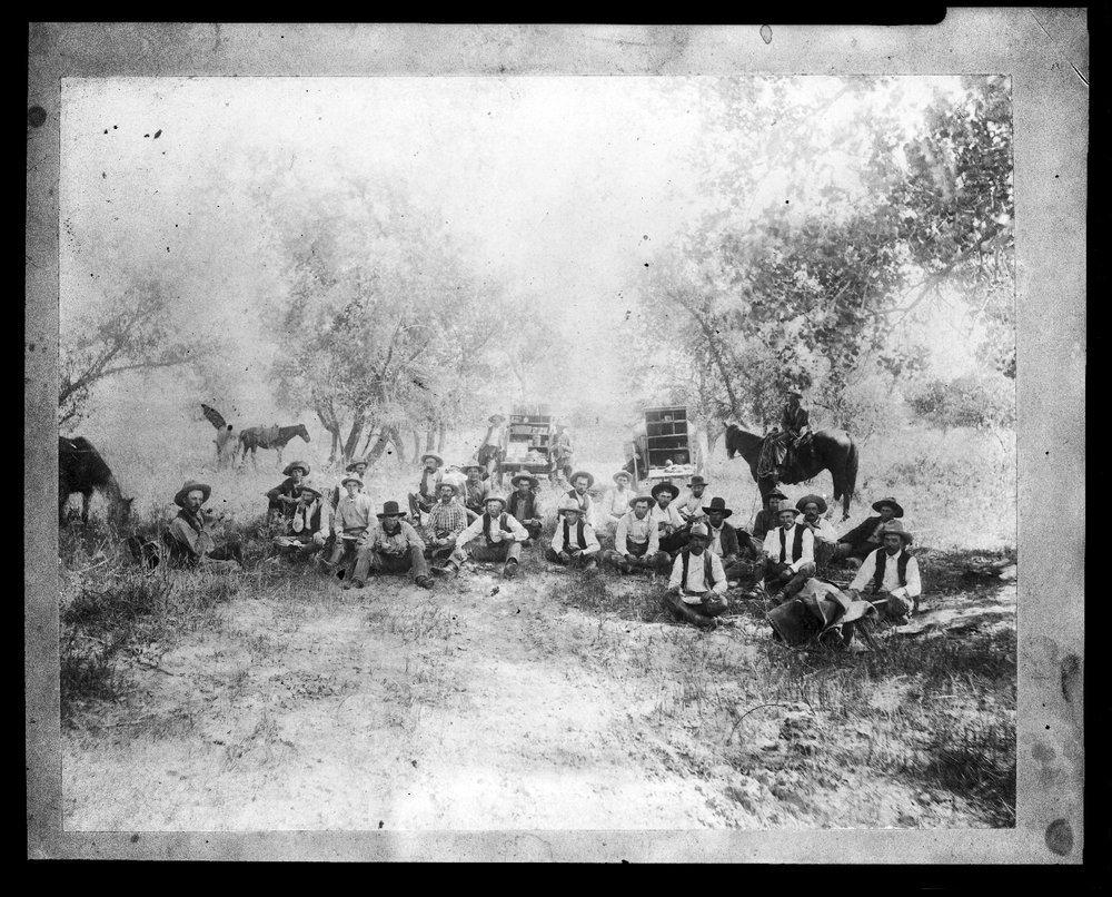 Chuck wagons and round-up crew, Clark County, Kansas