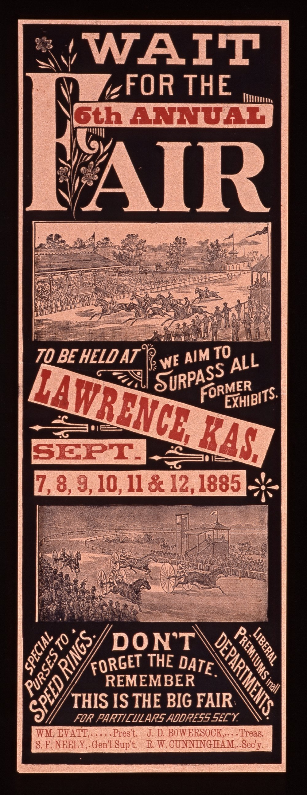 Wait for the sixth annual fair to be held at Lawrence, Kansas