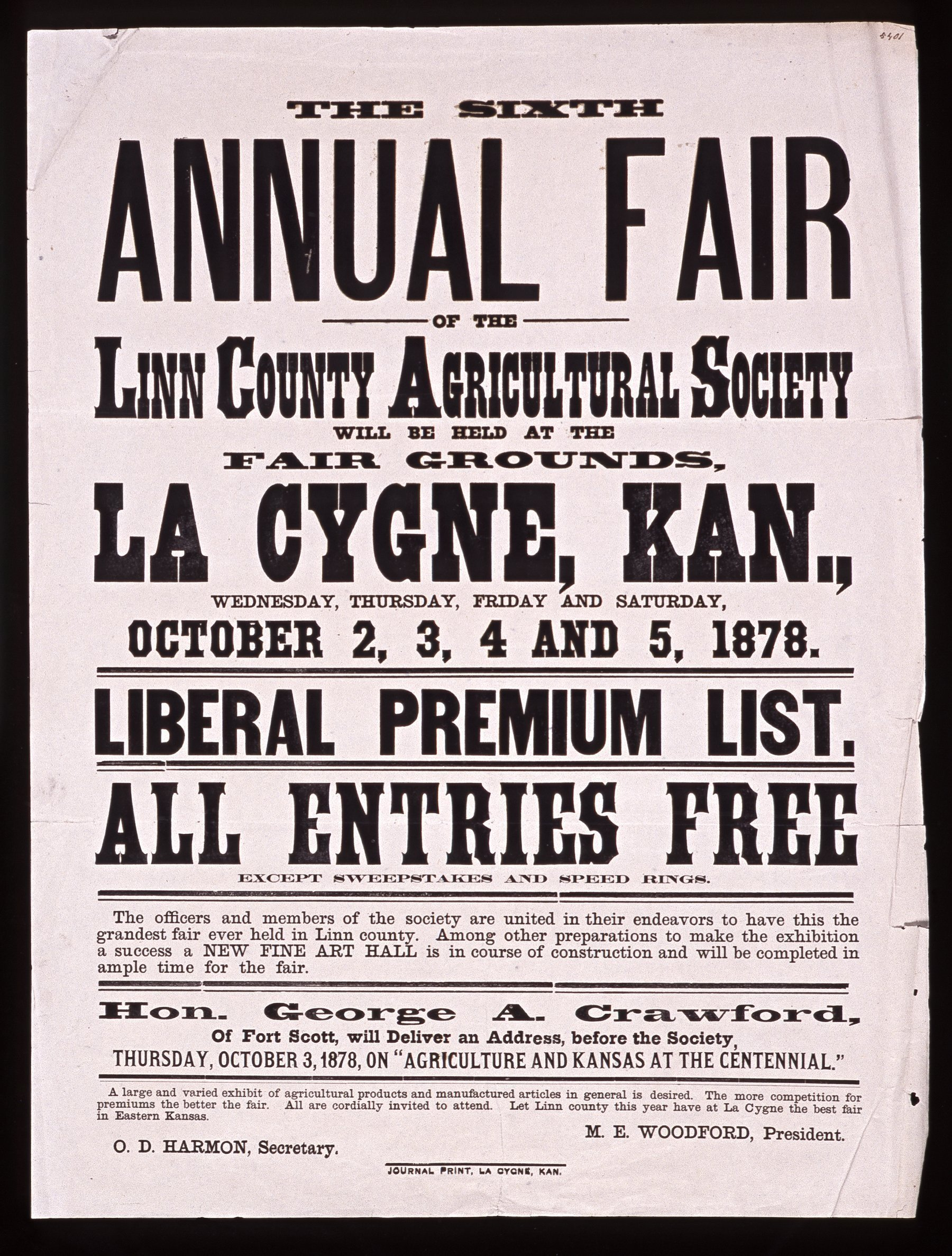 The sixth annual fair of the Linn County Agricultural Society