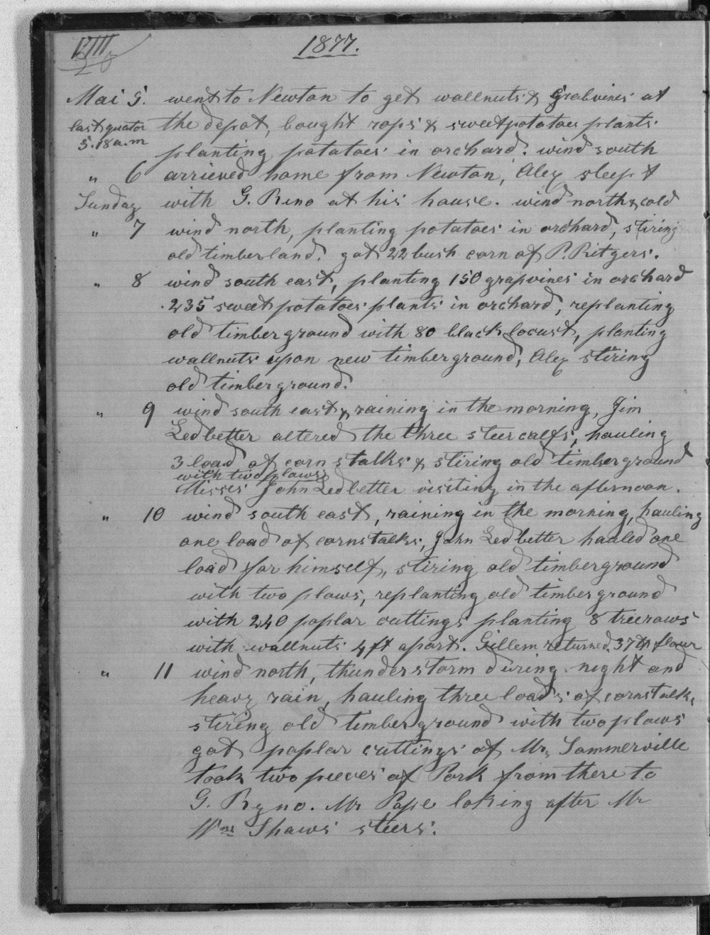 August Schulz diary - May 9, 1877