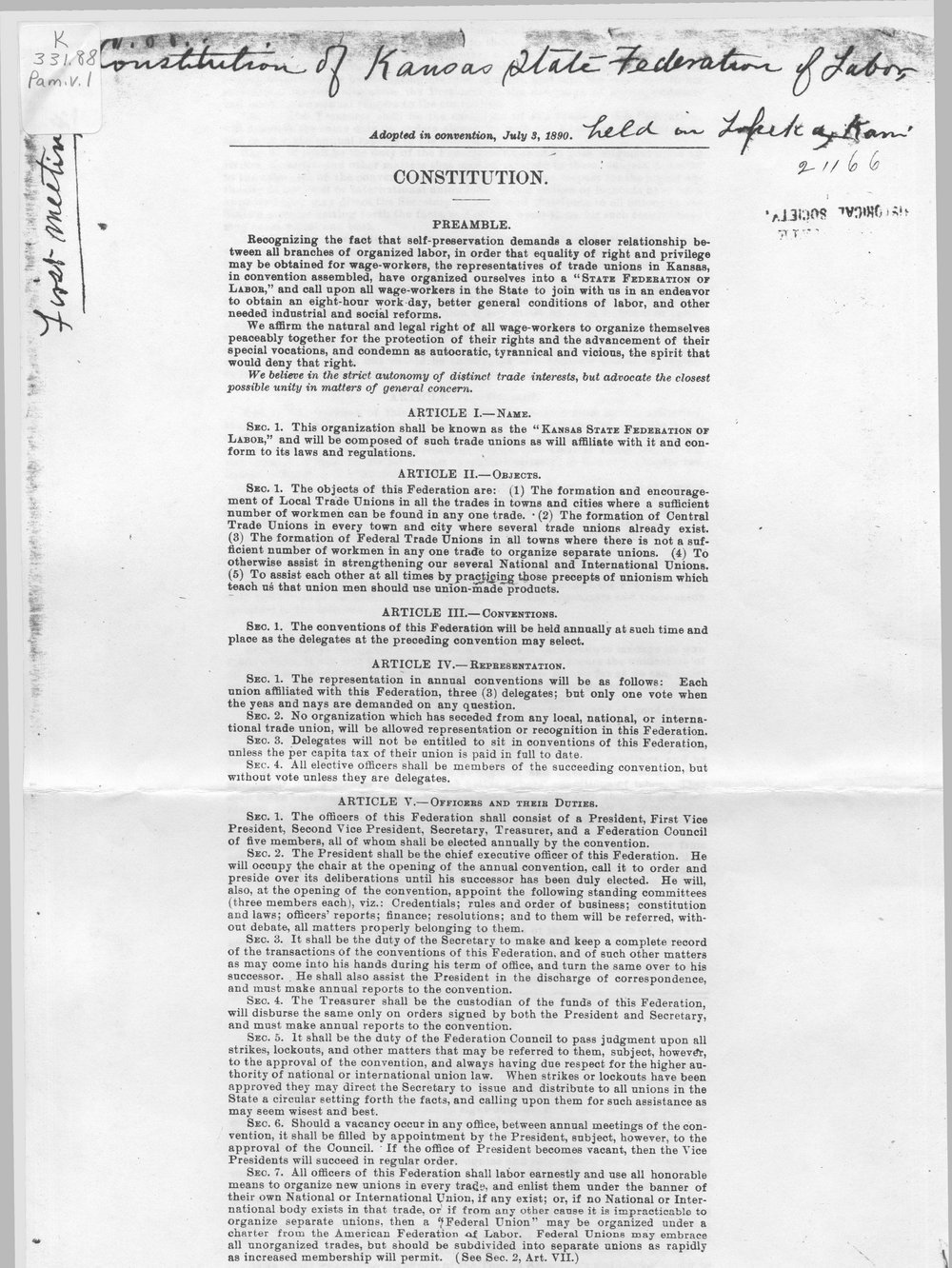 Constitution of the Kansas State Federation of Labor - 1