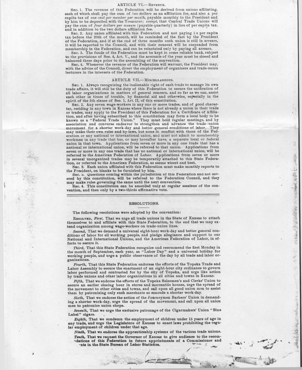 Constitution of the Kansas State Federation of Labor - 2