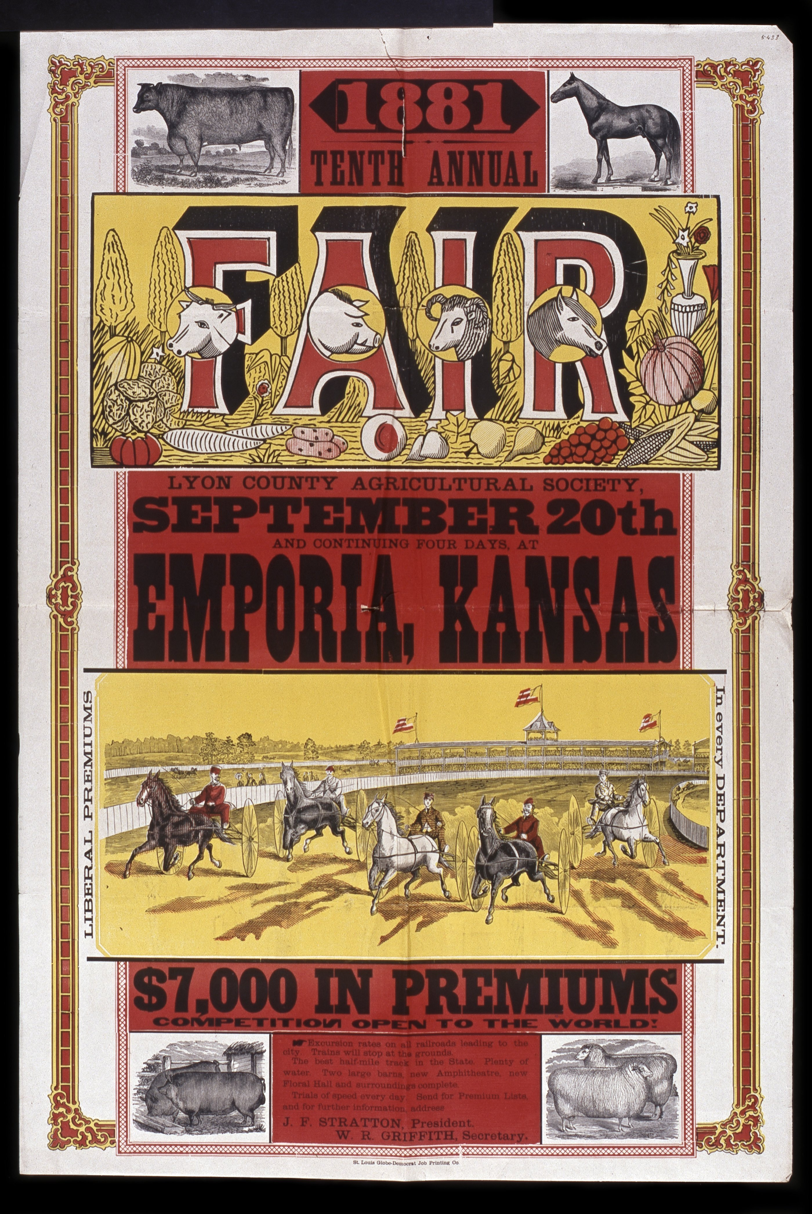Tenth annual fair of the Lyon County Agricultural Society