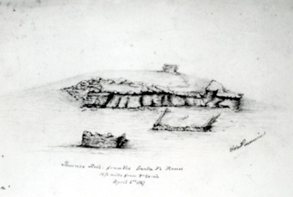 Sketch of Pawnee Rock in Barton County, Kansas - 1