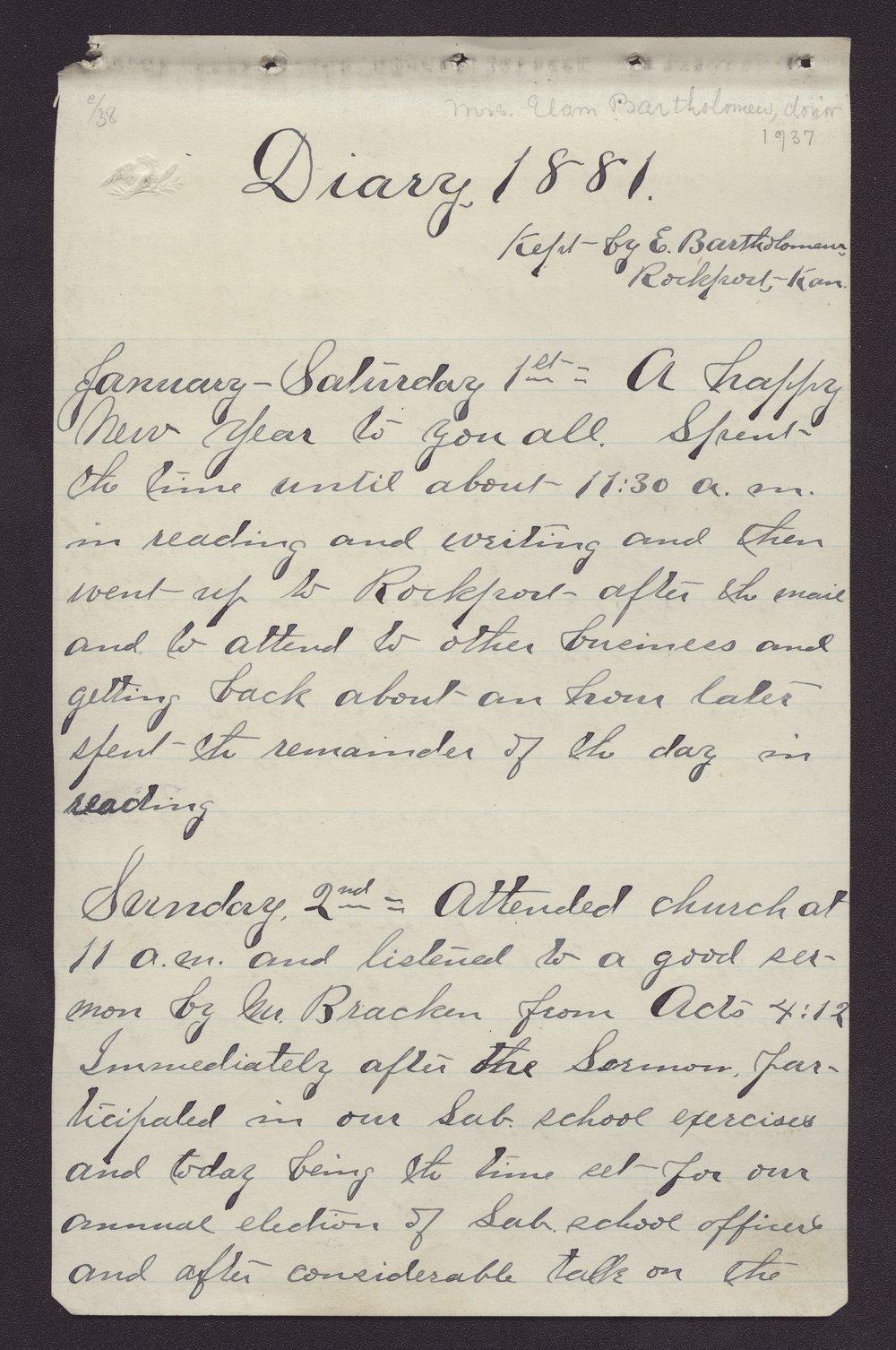 Elam Bartholomew diary - Jan 1, 1881