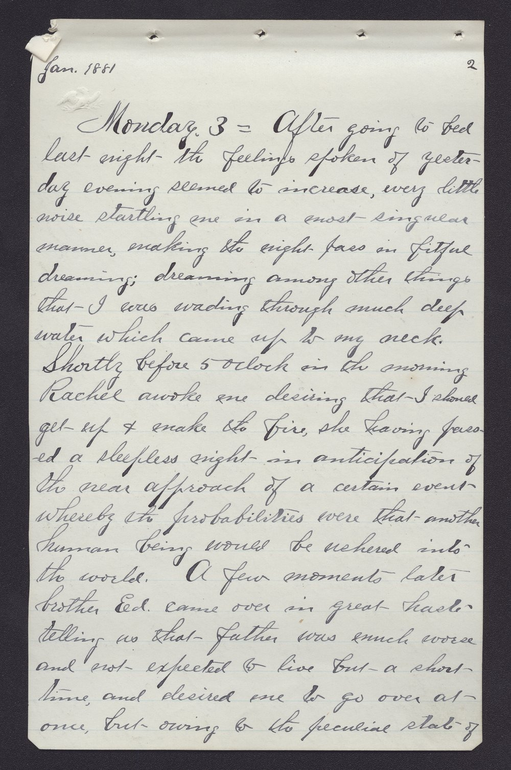 Elam Bartholomew diary - Jan 3, 1881 (1)
