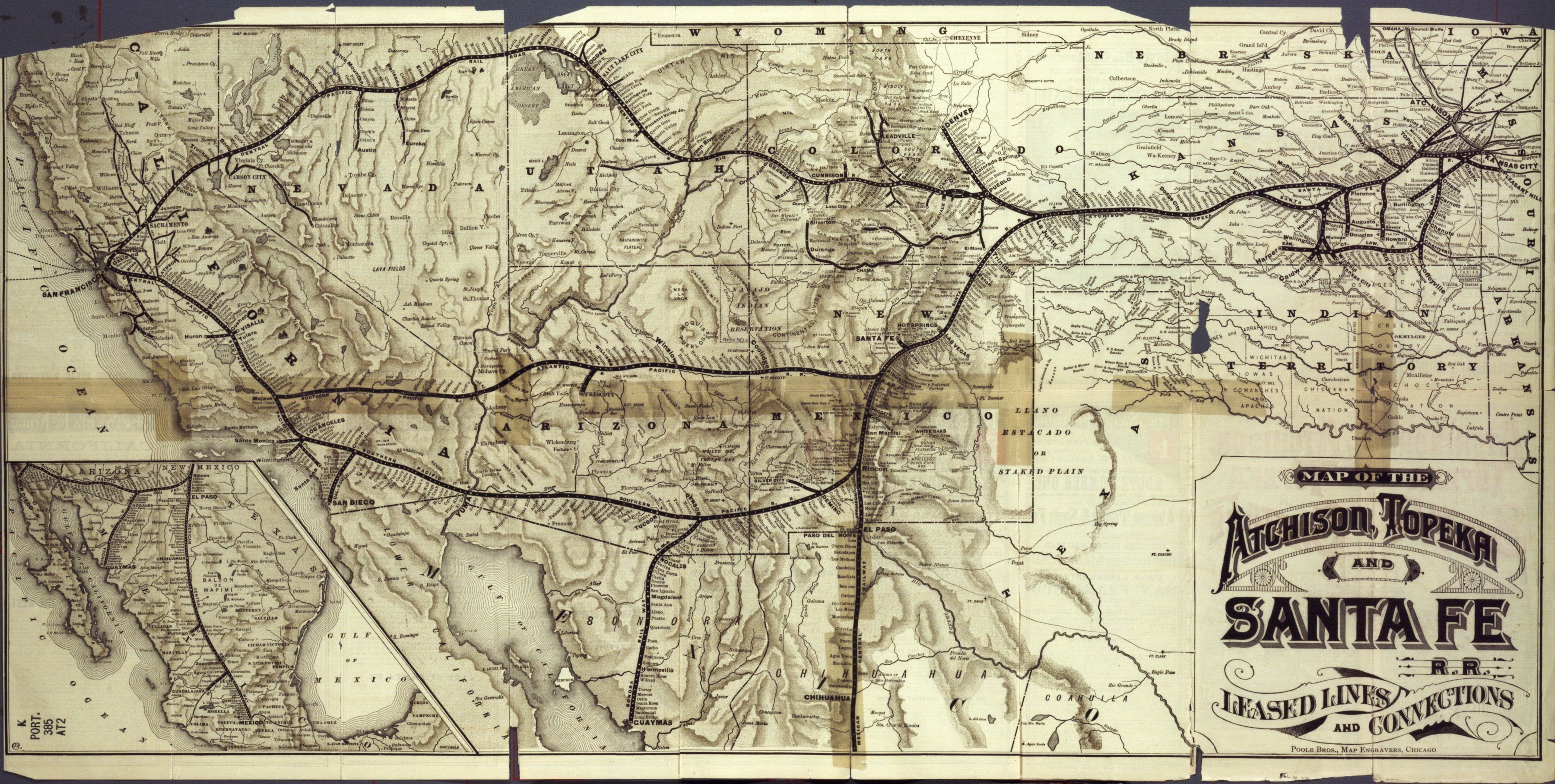 Three Routes To The Pacific Coast Via The Atchison Topeka And - Atchinson topeka and santa ferailroad on the us map
