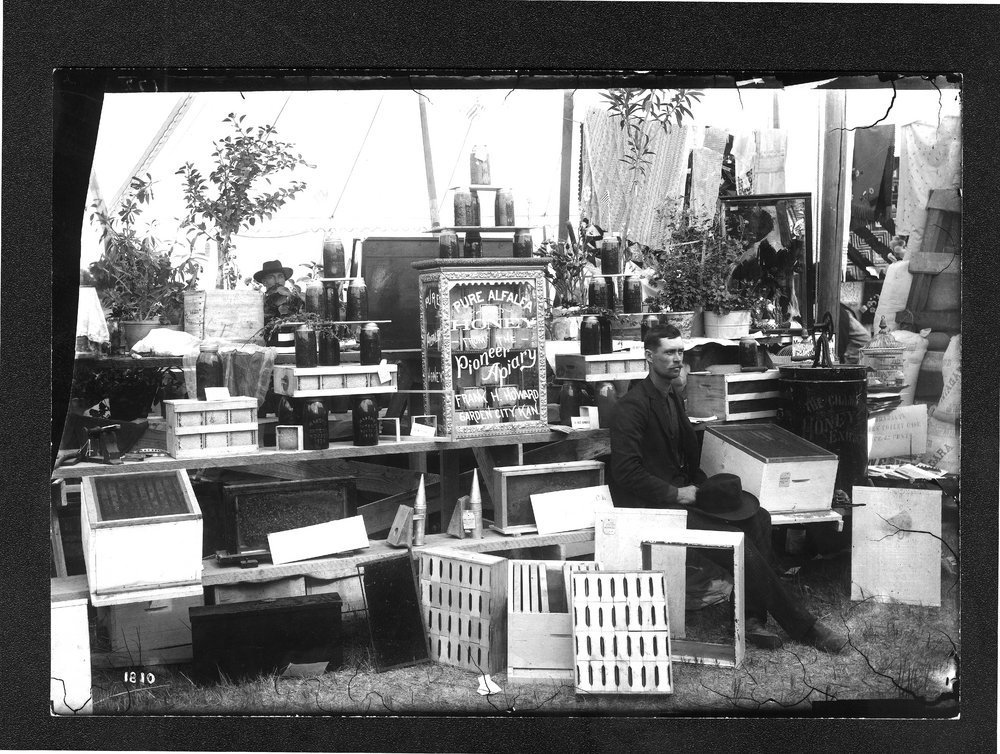 Frank Howard's honey exhibit, Finney County fair, Kansas