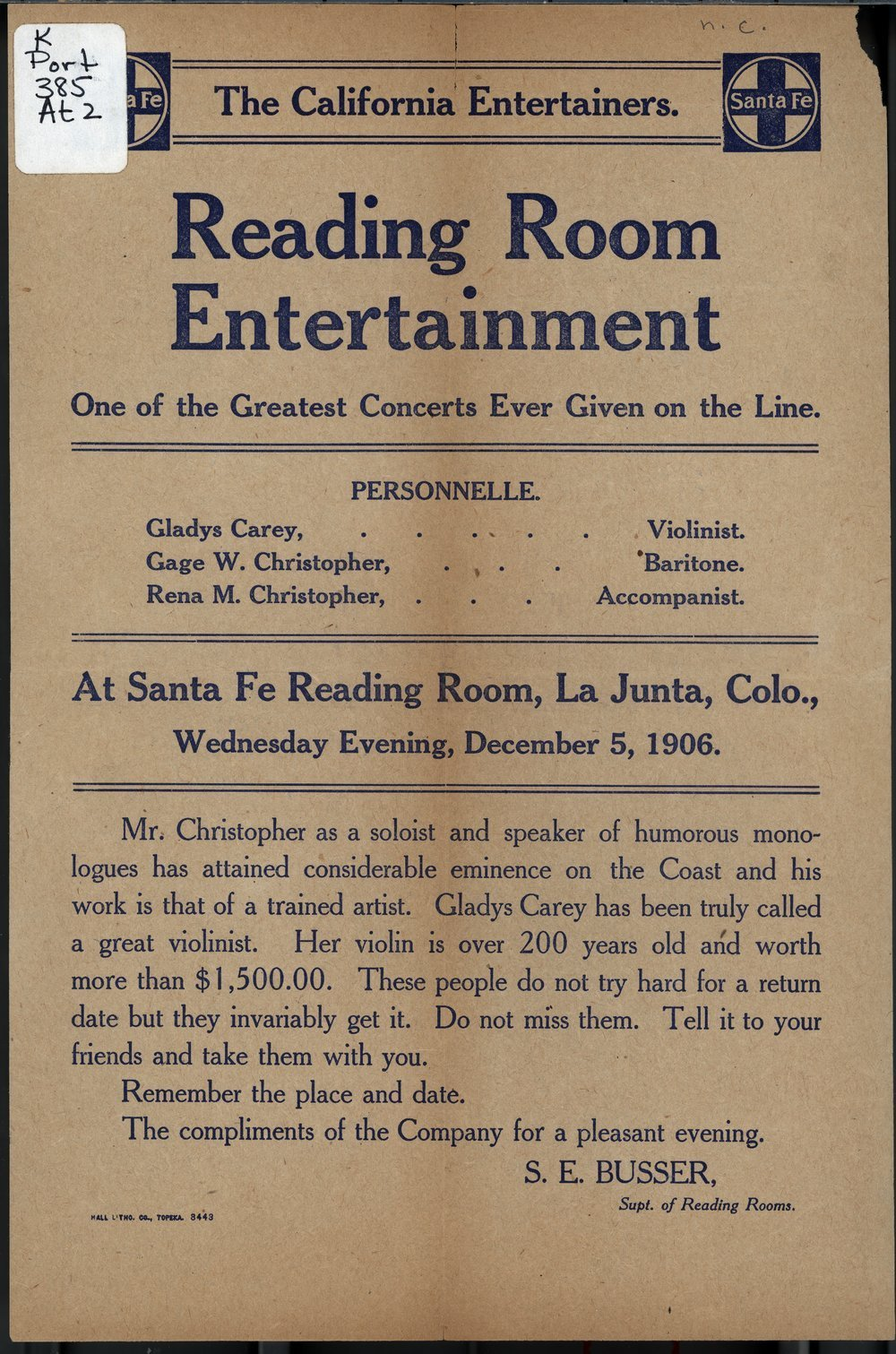 Santa Fe reading room entertainment