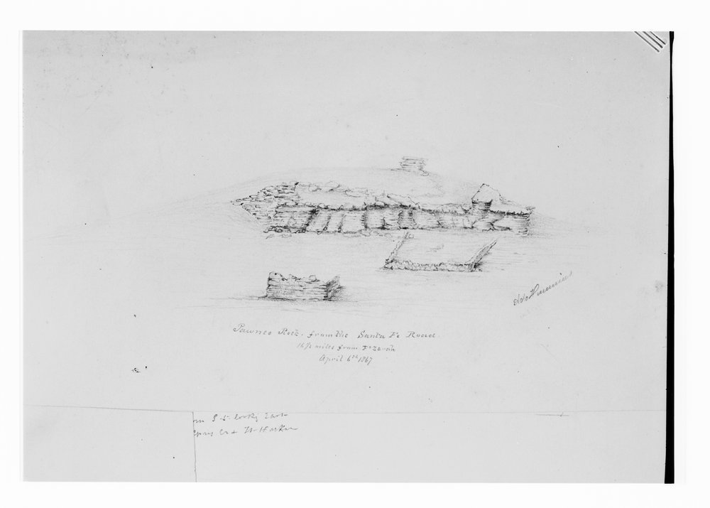 Sketch of Pawnee Rock in Barton County, Kansas - 1