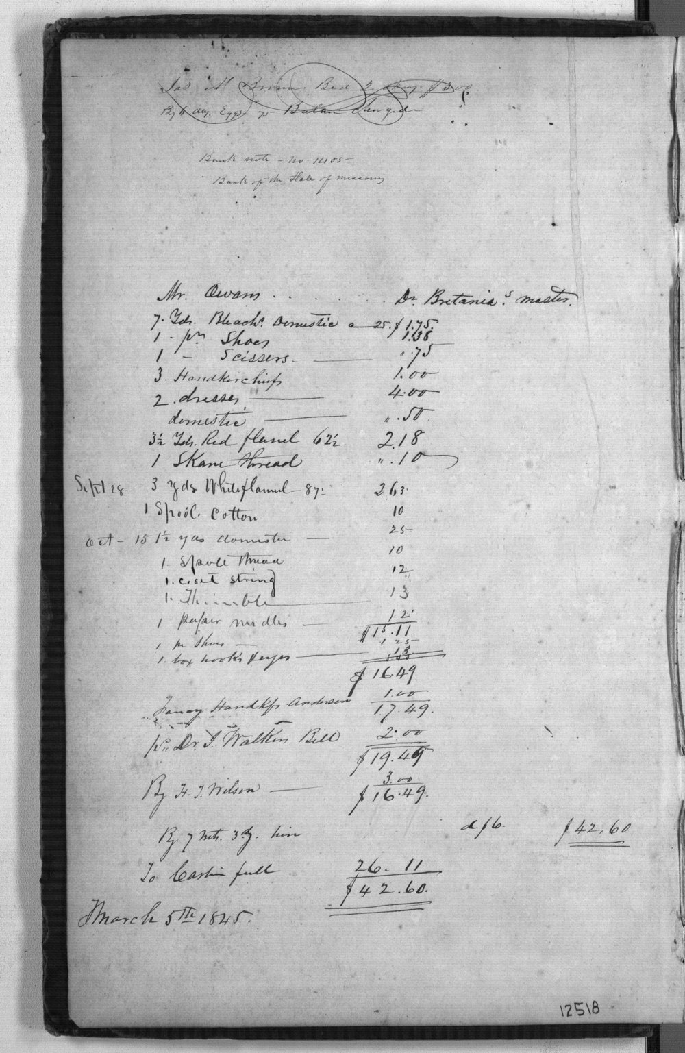 Post sutler's day book, Fort Scott - 1