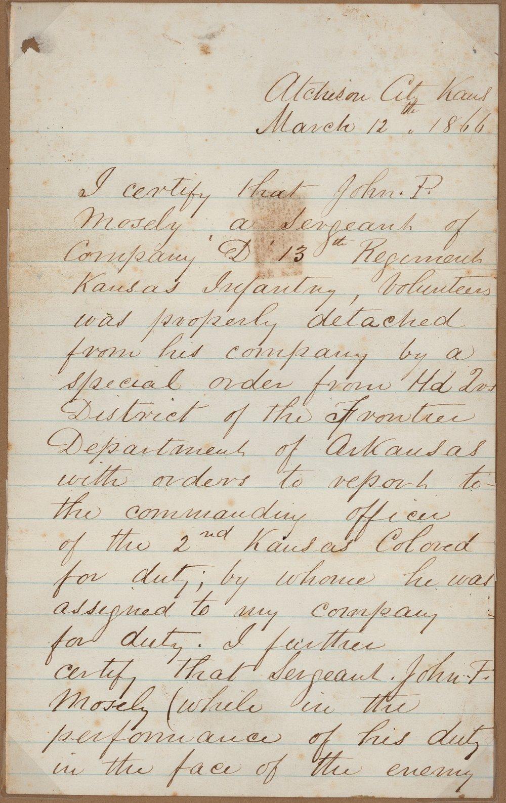 John M. Cain to Charles L. Mosley - 1