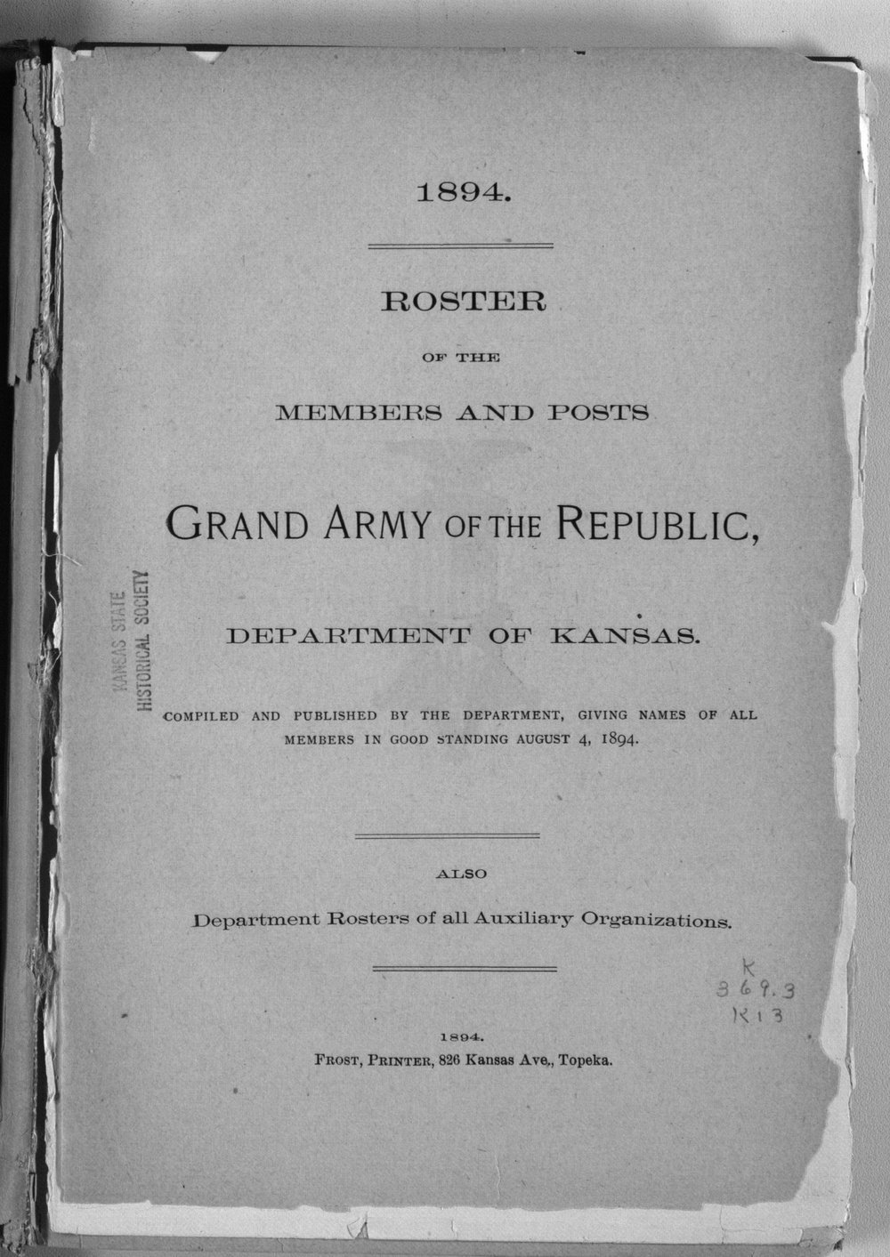 Roster of the members and posts: Grand Army of the Republic, Department of Kansas - Title Page