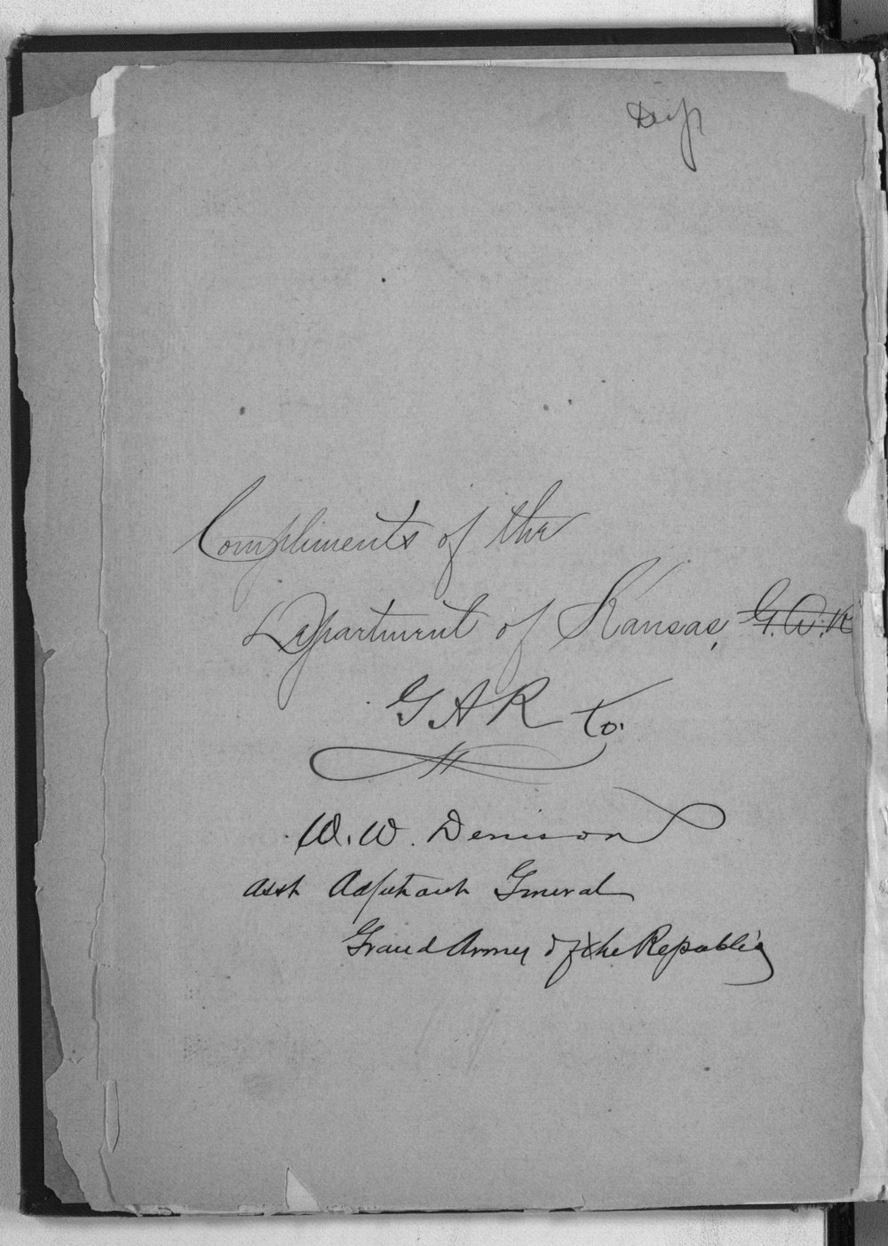 Roster of the members and posts: Grand Army of the Republic, Department of Kansas - Autographed page