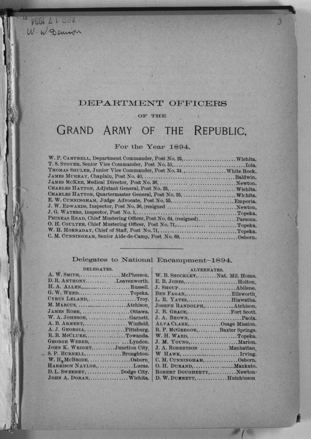 Roster of the members and posts: Grand Army of the Republic, Department of Kansas - 3