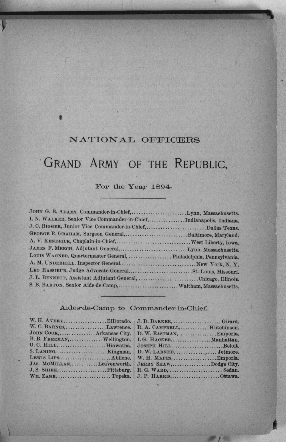 Roster of the members and posts: Grand Army of the Republic, Department of Kansas - 7