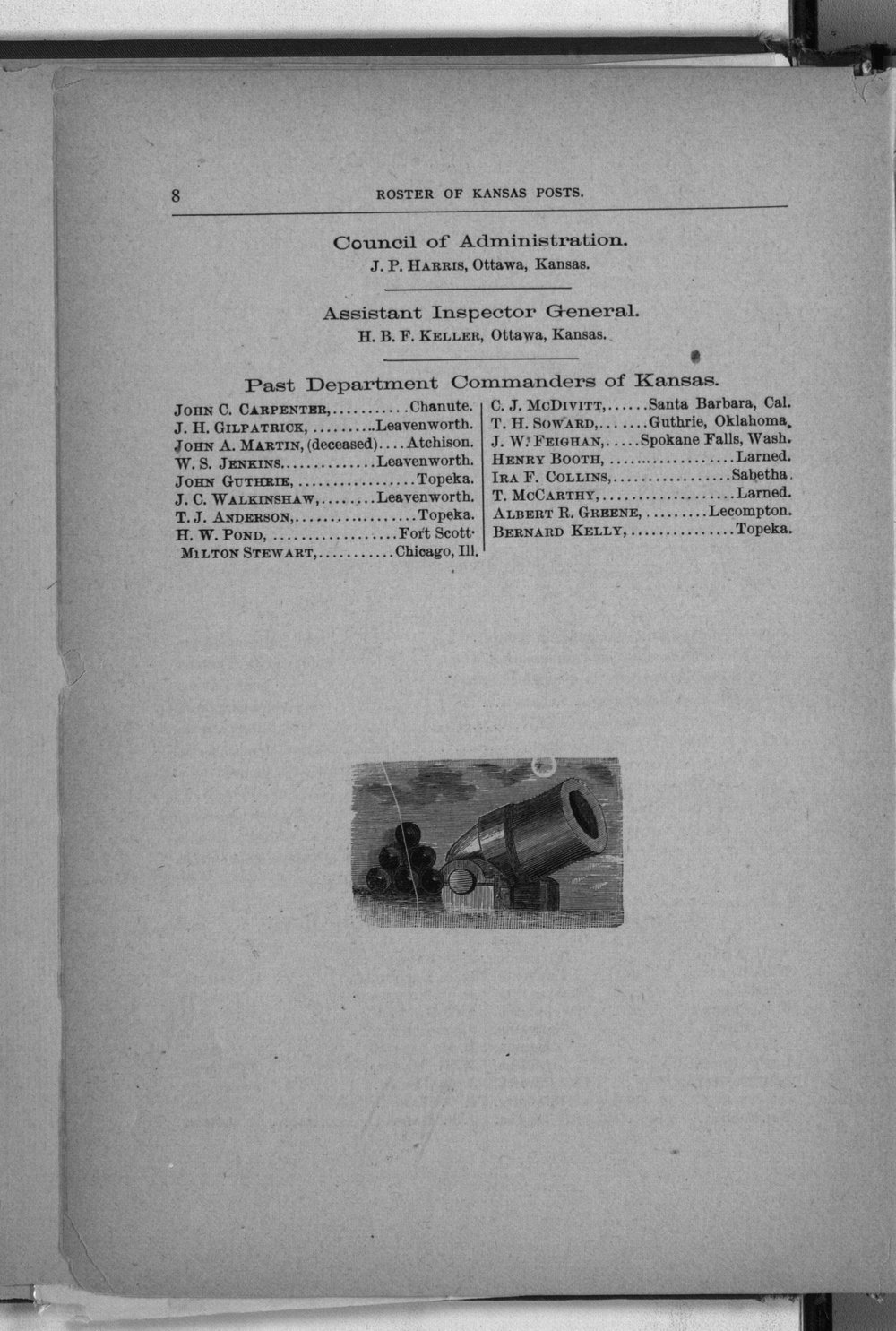 Roster of the members and posts: Grand Army of the Republic, Department of Kansas - 8