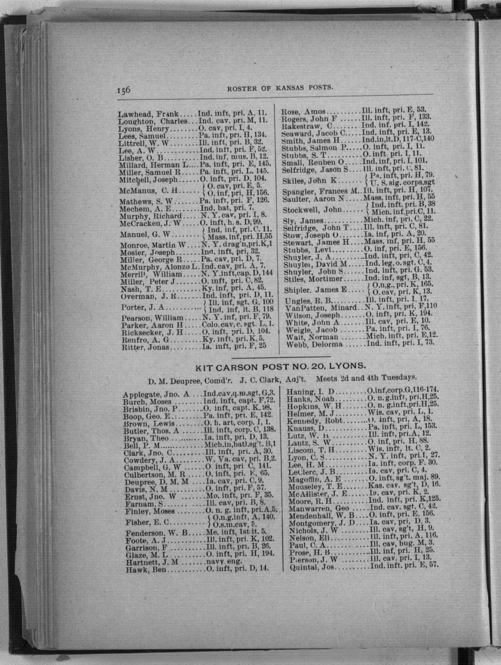 Roster of the members and posts: Grand Army of the Republic, Department of Kansas - 156