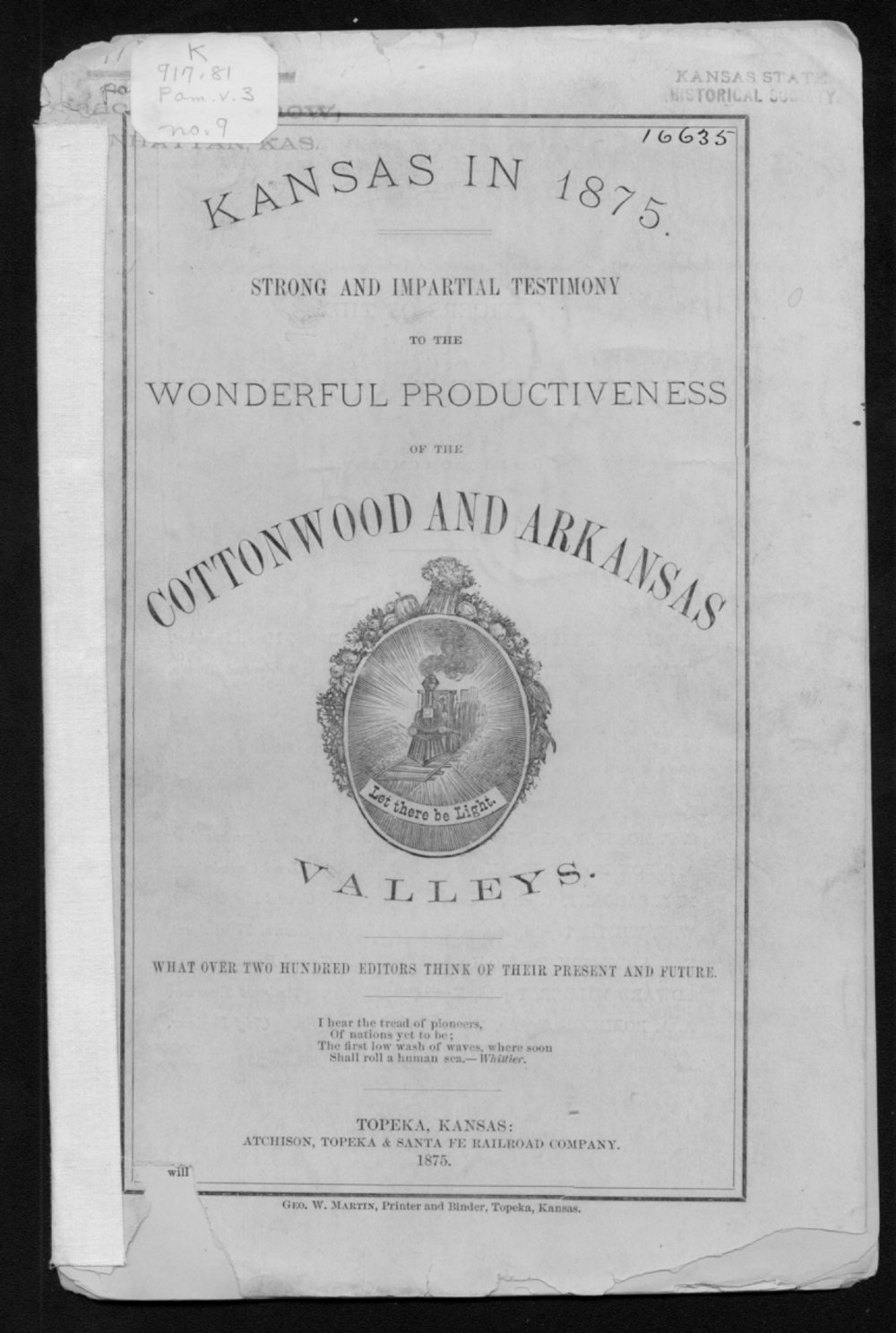 Kansas in 1875 - Front Cover