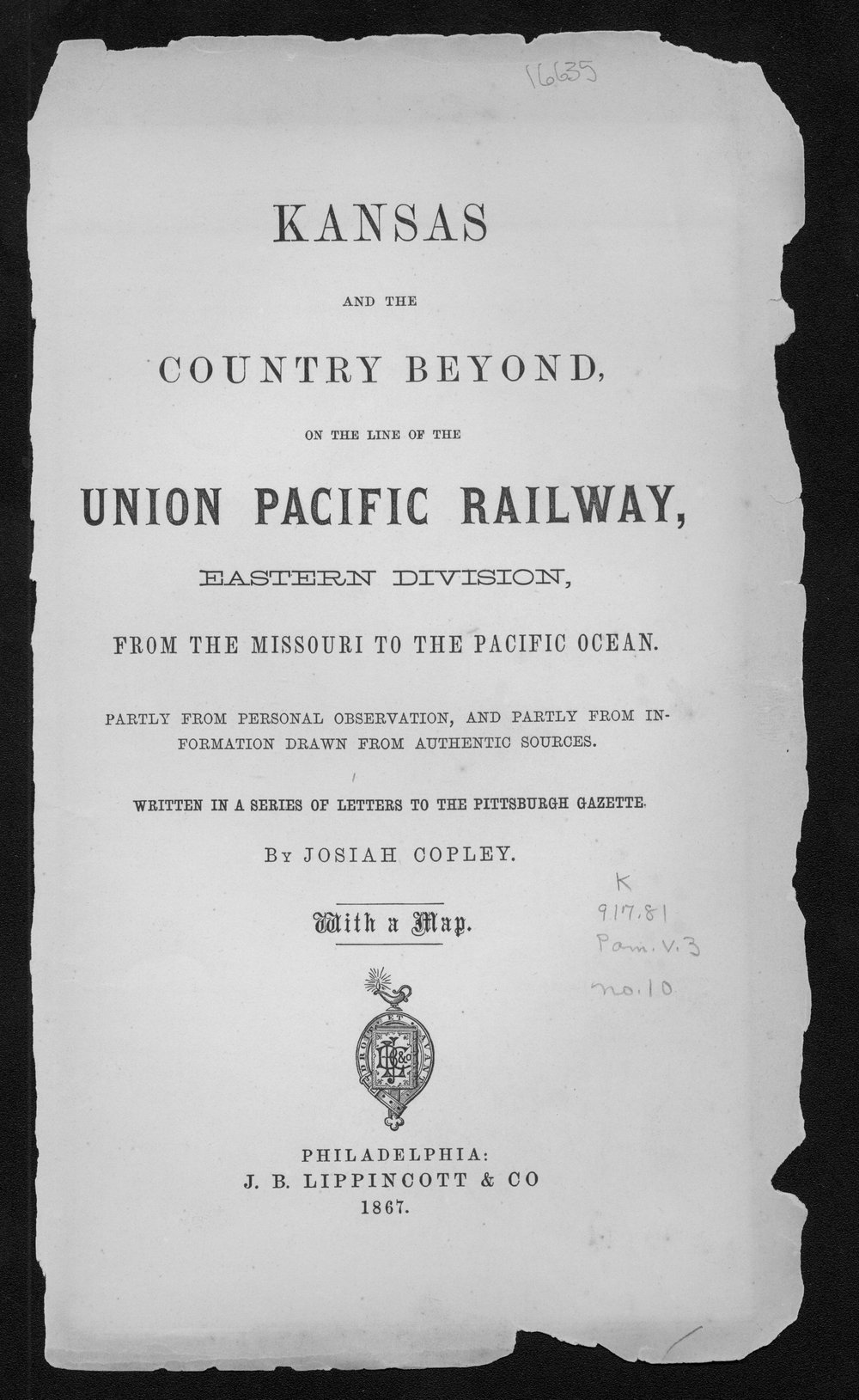 Kansas and the country beyond, on the line of the Union Pacific Railway, Eastern Division, from the Missouri to the Pacific ocean - Title Page