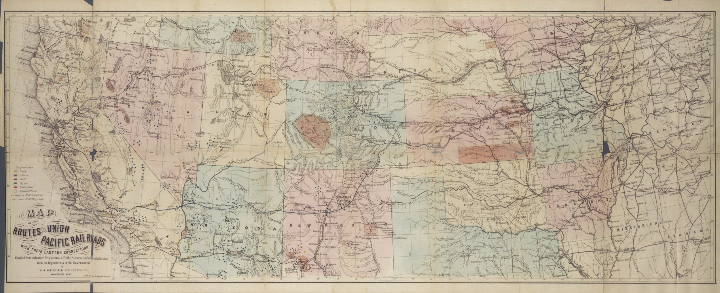 Kansas and the country beyond, on the line of the Union Pacific Railway, Eastern Division, from the Missouri to the Pacific ocean - map
