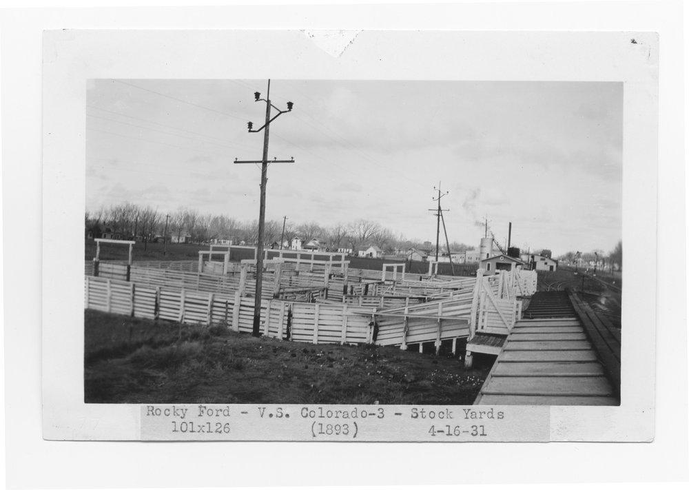 Atchison, Topeka & Santa Fe Railway Company stock yards, Rocky Ford, Colorado