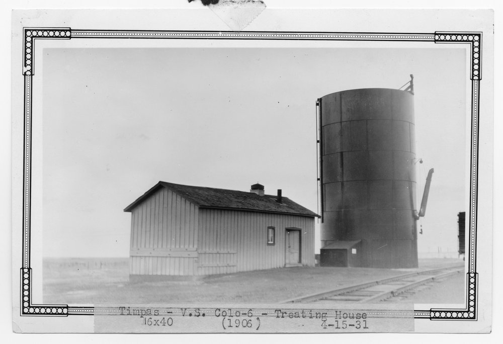 Atchison, Topeka & Santa Fe Railway Company water treating plant and water tank, Timpas, Colorado